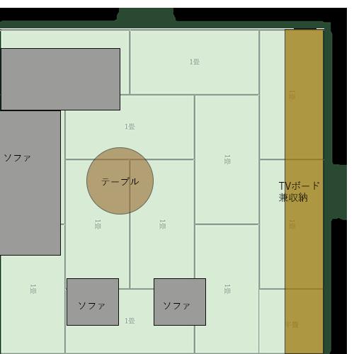 12畳正方形リビングの家具レイアウト⑨