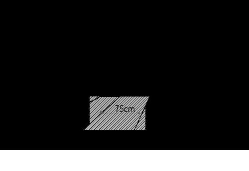 ーナーに長方形ダイニングテーブルをレイアウトする時の最低限必要寸法図