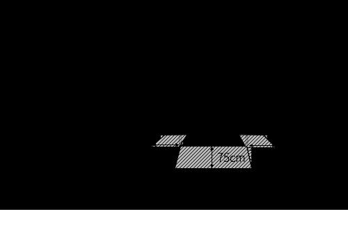 壁に長方形ダイニングテーブルの長手をレイアウトする時の最低限必要寸法図