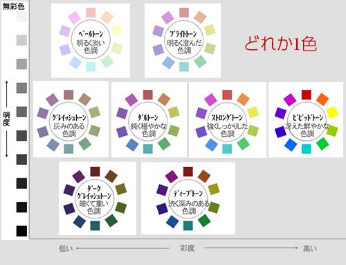 無彩色+有彩色のカラーチョイス