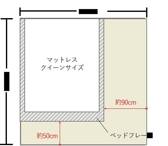 4畳半の寝室にクイーンベッドを壁寄せでレイアウト