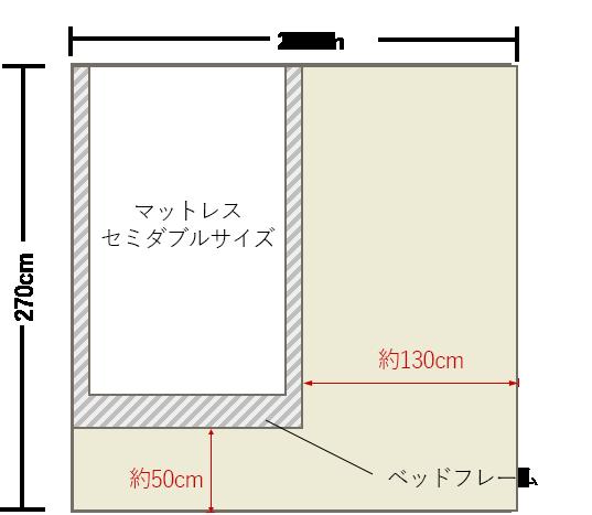 4畳半の寝室にセミダブルベッドを壁寄せでレイアウト