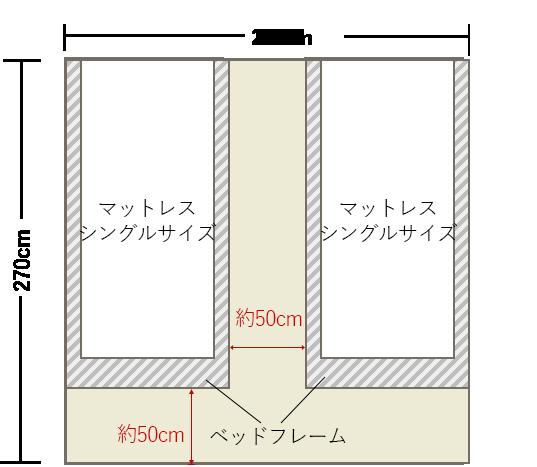 4畳半の寝室の壁にシングルベッドを2台