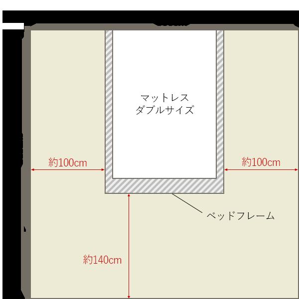 8畳の寝室の中央にダブルベッドレイアウト