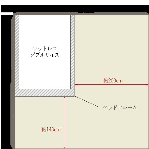 8畳の寝室にダブルベッドを壁寄せでレイアウト
