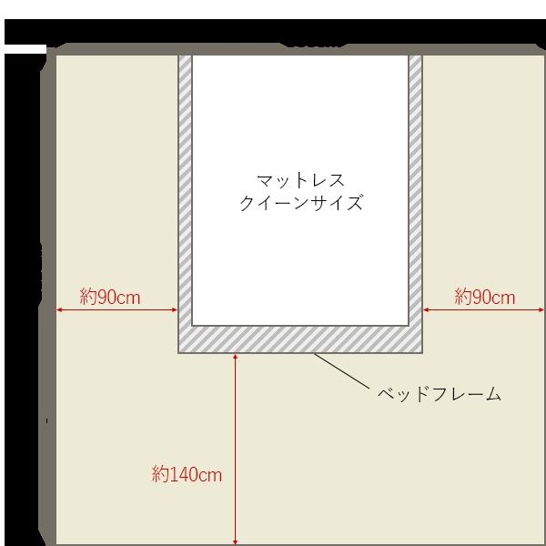 8畳の寝室の中央にクイーンベッドレイアウト