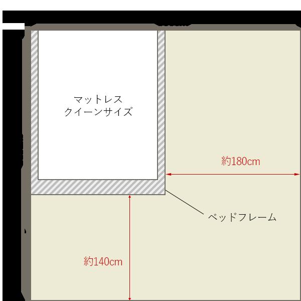 8畳の寝室にクイーンベッドを壁寄せでレイアウト