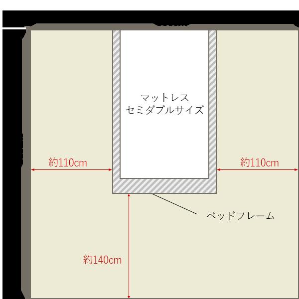 8畳の寝室の中央にセミダブルベッドレイアウト