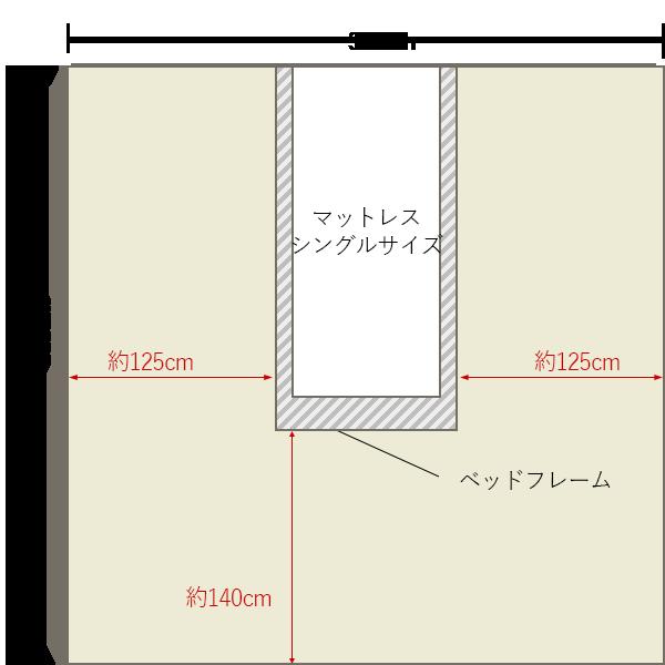 8畳の寝室の中央にシングルベッドレイアウト