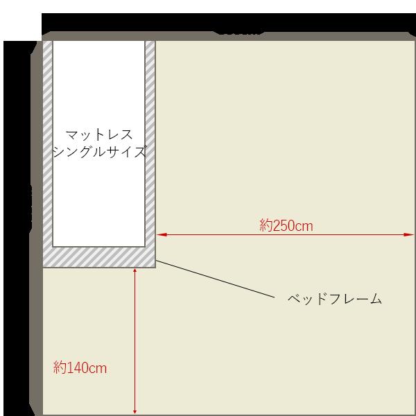 8畳の寝室にシングルベッドを壁寄せでレイアウト