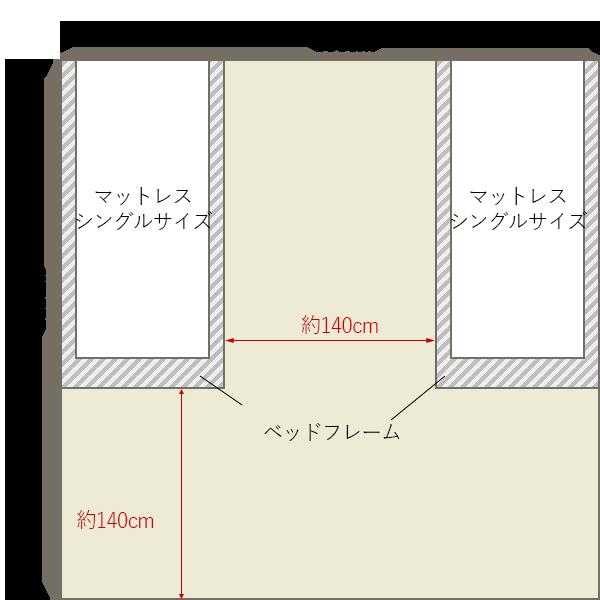8畳の寝室にシングルベッド×2を壁寄せでレイアウト
