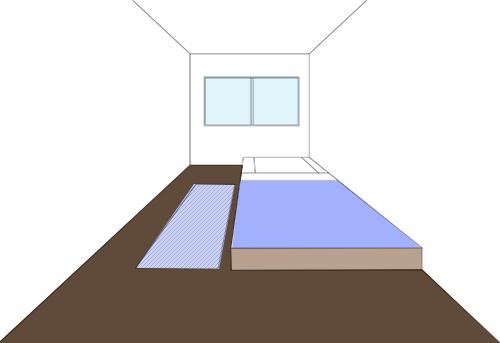 ベッドの片側のみラグ