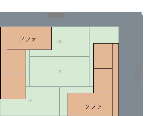6畳の角にコーナーソファを置いた図