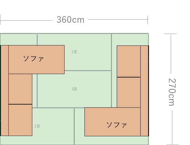 6畳の短い方の壁にコーナーソファを置いた図