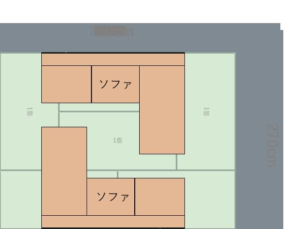 6畳の長い方の壁にコーナーソファを置いた図