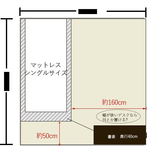 4畳半の寝室にシングルベッドを壁寄せでレイアウト+足元に書斎