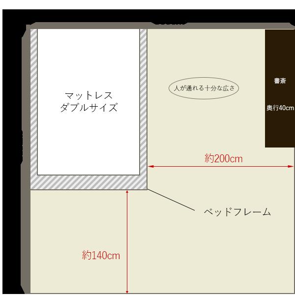 8畳の寝室にダブルベッドを壁寄せでレイアウト+書斎