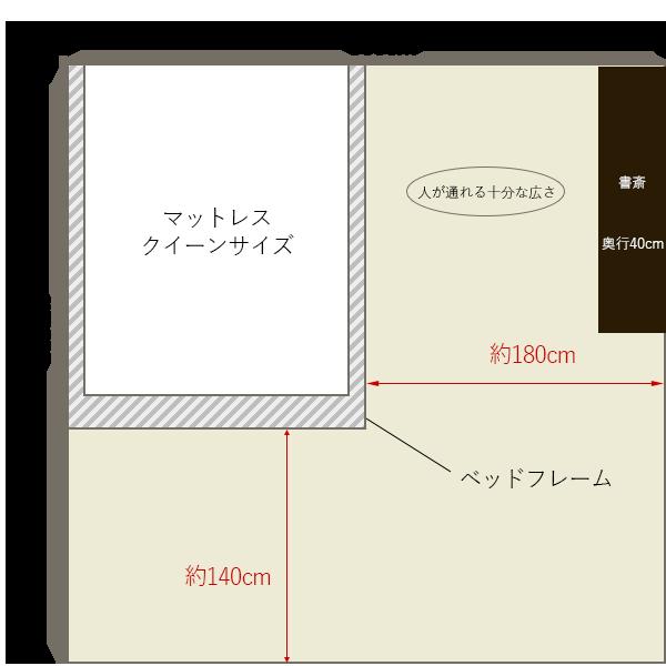 8畳の寝室にクイーンサイズベッドを壁寄せでレイアウト+書斎