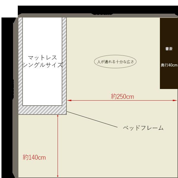 8畳の寝室にシングルベッドを壁寄せでレイアウト+書斎