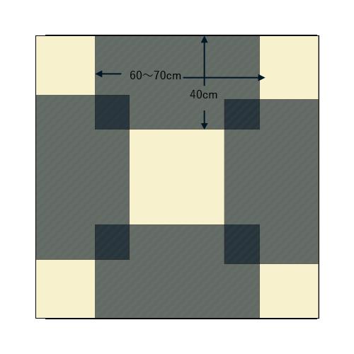 120角の正方形テーブル
