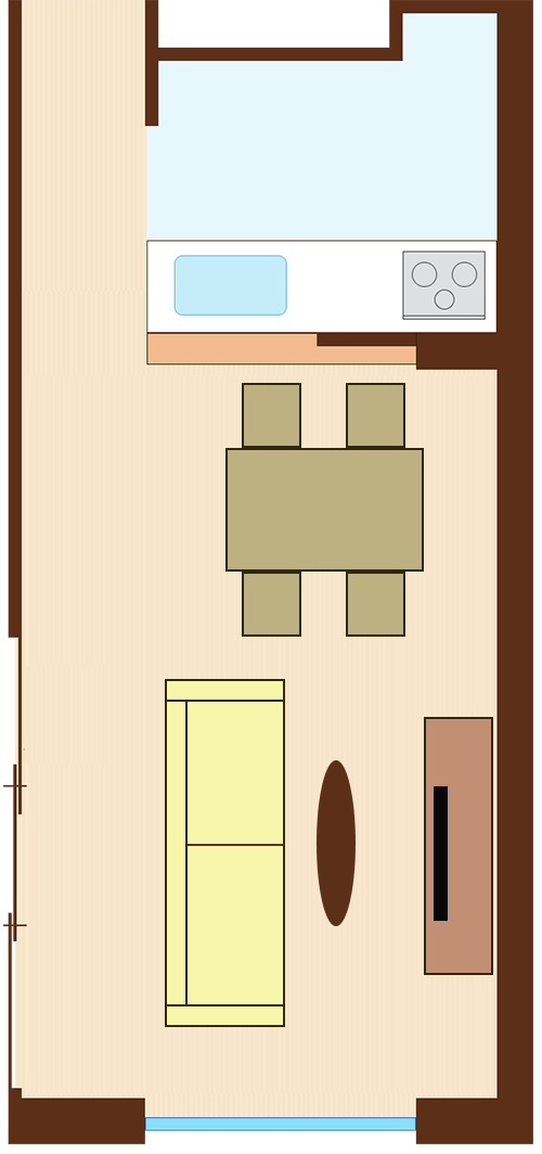 通路スペースを一直線に確保したレイアウト(長方形ダイニングテーブル+通路を背にソファ)