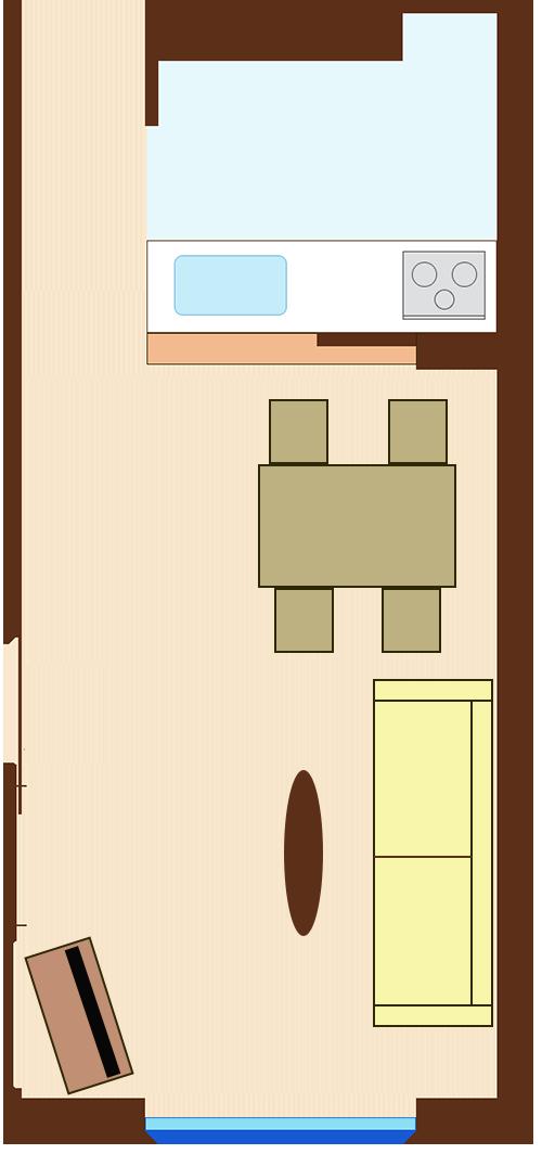 通路スペースを一直線に確保したレイアウト(長方形ダイニングテーブル+壁を背にソファ)