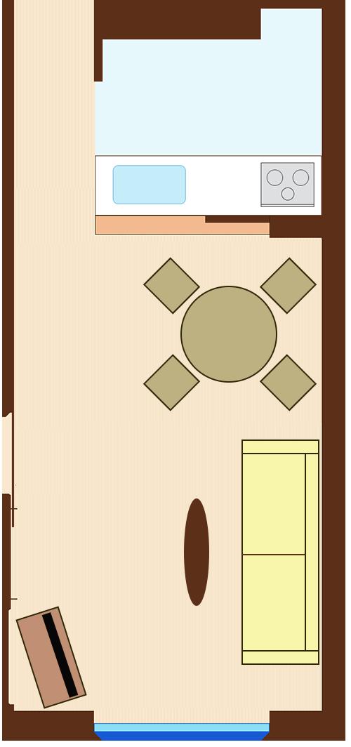 通路スペースを一直線に確保したレイアウト(円形ダイニングテーブル+壁を背にソファ)