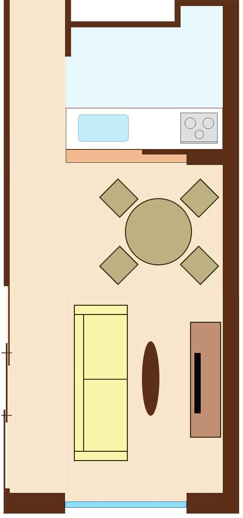 通路スペースを一直線に確保したレイアウト(円形ダイニングテーブル+通路を背にソファ)