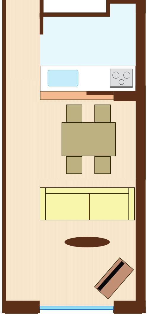 通路スペースを一直線に確保したレイアウト(長方形ダイニングテーブル+ダイニングテーブルを背にソファ)
