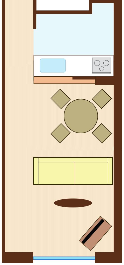 通路スペースを一直線に確保したレイアウト(円形ダイニングテーブル+ダイニングテーブルを背にソファ)