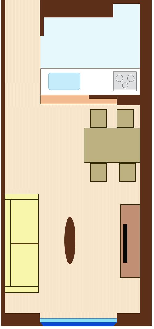 ダイニングとリビングを対角線にレイアウト(長方形ダイニングテーブルとソファが直角)