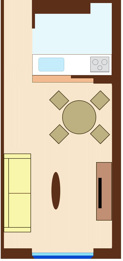 ダイニングとリビングを対角線にレイアウト(円形ダイニングテーブル)