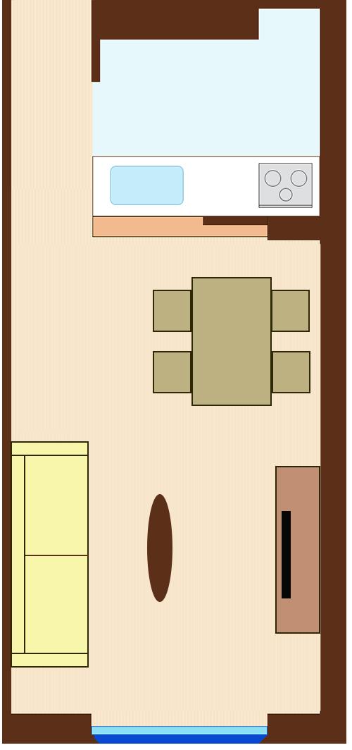 ダイニングとリビングを対角線にレイアウト(長方形ダイニングテーブルとソファが平行)