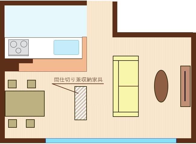 間仕切り兼収納家具