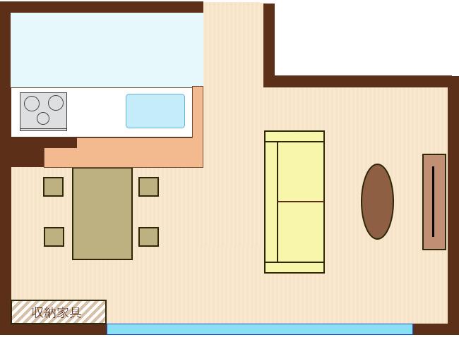 窓側の壁に収納家具