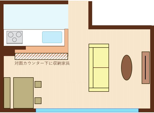 カウンター下に収納家具