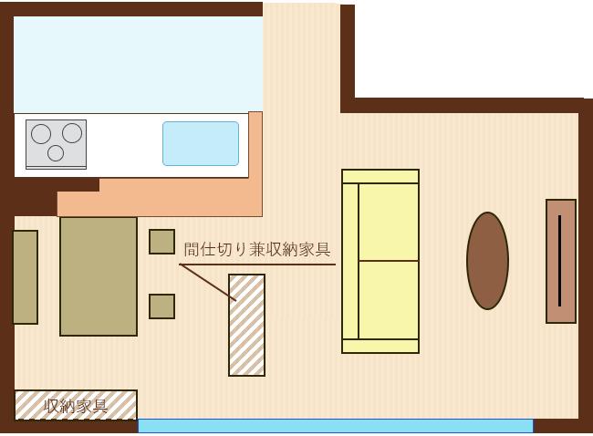 窓側に収納家具・リビングとの間に間仕切り兼収納家具を設置