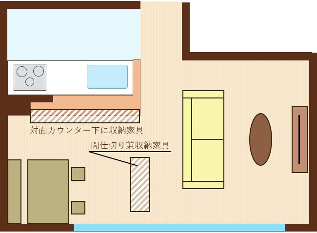 カウンター下に収納家具・リビングとの間に間仕切り兼収納家具を設置