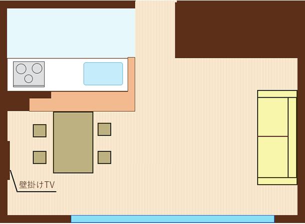 ソファをダイニングに向けてレイアウトし、ダイニング側の壁にTV(平行レイアウト)