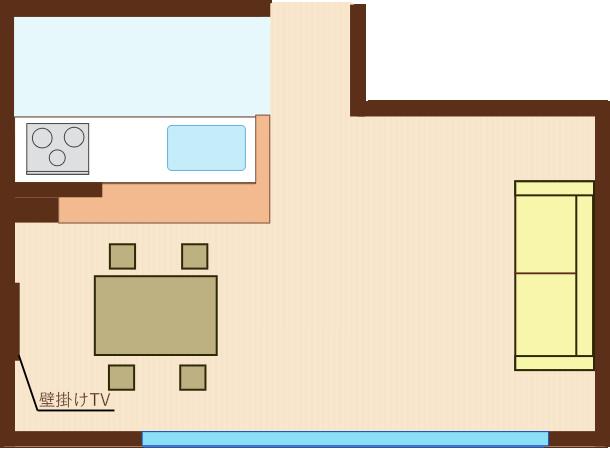 ソファをダイニングに向けてレイアウトし、ダイニング側の壁にTV直角レイアウト