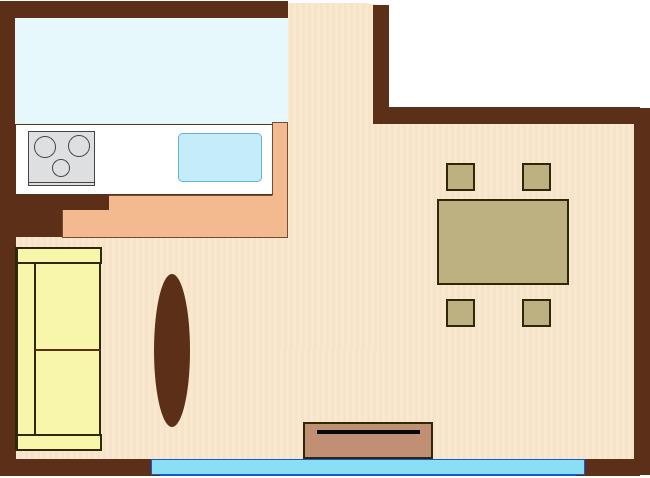 対面キッチンの前の短手の壁にソファをレイアウト