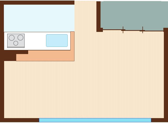 リビングの隣に和室があるLDK
