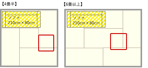 4畳半・6畳リビングのソファとパーソナルチェアのL型レイアウト
