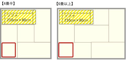 4畳半・6畳リビングのソファとパーソナルチェアの対面レイアウト