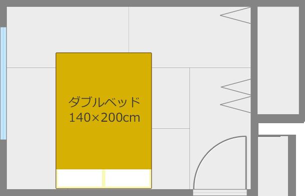 ベッドを短い方の壁と平行にして中央レイアウト1