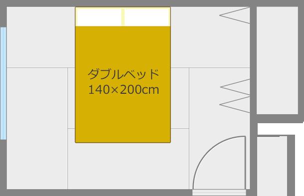 ベッドを短い方の壁と平行にして中央レイアウト2