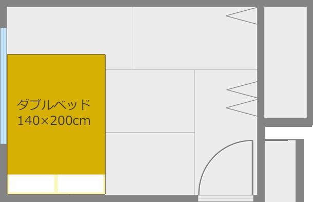 ベッドを短い方の壁と平行にしてコーナー寄せ1