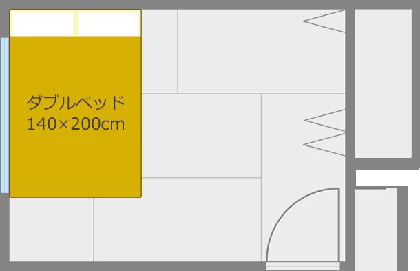 ベッドを短い方の壁と平行にしてコーナー寄せ2