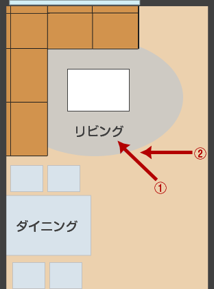 縦長のリビングダイニングにコーナーソファを置いたレイアウト図