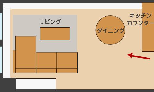 縦長LDKにコーナーソファを置いたレイアウト図